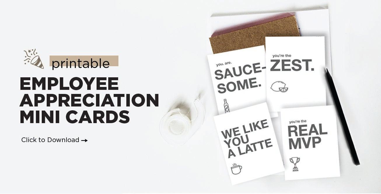 Printable Employee Appreciation Mini Cards 10 More Ideas